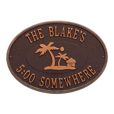 Personalized Island Party Plaque - Antique Copper Finish