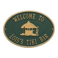 Personalized Tiki Hut Plaque - Green / Gold Finish