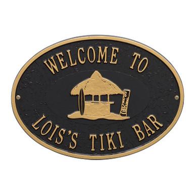 Personalized Tiki Hut Plaque - Black / Gold Finish
