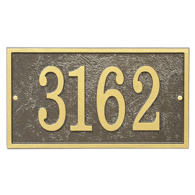 Rectangle House Number Address Plaque - Bronze/Gold