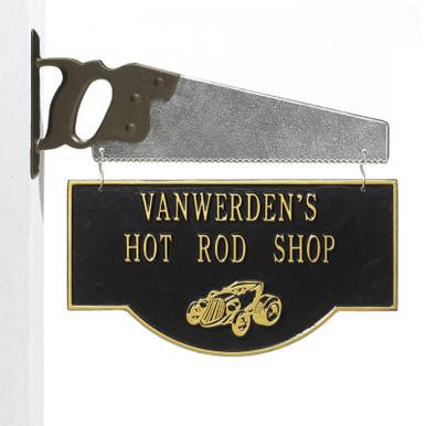 Personalized Hot Rod Garage Plaque - Black/Gold - Saw Bracket