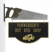 Personalized Hot Rod Garage Plaque - Black/Gold - Saw Bracket