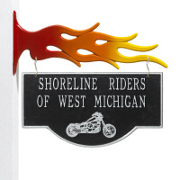 Personalized Motorcycle Garage Plaque - Black/Silver - Flames Bracket