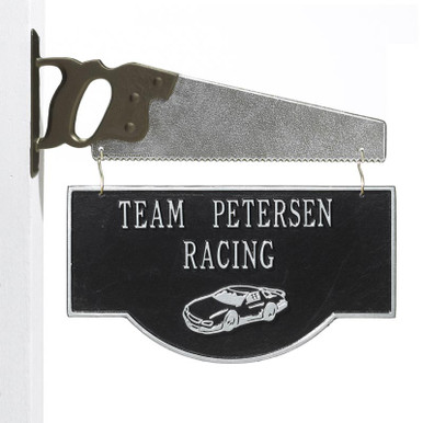 Personalized Racing Car Garage Plaque - Black/Silver - Saw Bracket