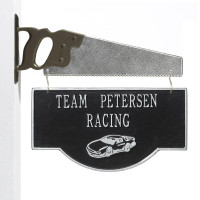 Personalized Racing Car Garage Plaque - Black/Silver - Saw Bracket