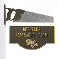 Personalized Farm Tractor Plaque - Oil Rubbed Bronze - Saw Bracket