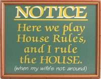 Billiards Sign | House Rules Pool Room Decor | With Frame
