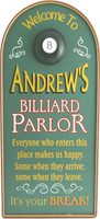 Custom Billiard Parlor Sign | Personalized Billiards Sign | Man Cave Decor