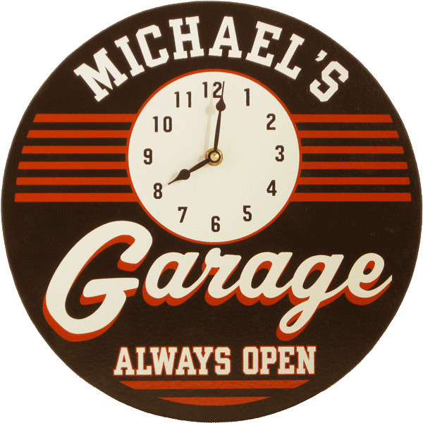 Personalized Garage Signs : Personalized garage clock sign man cave gifts