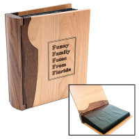 Personalized Wood Photo Album in Maple &amp; Walnut