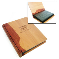 Personalized Wood Photo Album in Maple &amp; Rosewood