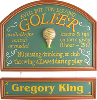 Avid Golfer Plaque Personalized | Golf Signs | Custom Wall Decor