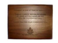 Laser Engraved Walnut Wood Plaque 9x12