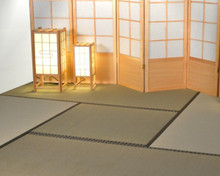 Tatami mat in a tea room set-up using half size mats