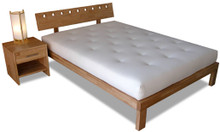 Sam Bed Frame, Rubberwood -  headboard with square holes, shown with Alan bedside table