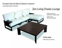 Modular Chaise Lounge wood with white leather
