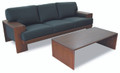 Curved 3 Seater Lounge wooden frame full black leather