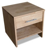 Bed Side Table ALAN Finish: Golden Oak Satin Finish  Single Drawer with Shelf Bearing Runners Timber size 25mm