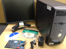 MicroLite XP software, NIC card, NIC wallplate, NIC power supply, desktop and monitor.