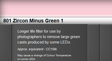 Lee Filters 801S Zircon Minus Green 1 LED Lighting Gel