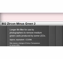 Lee Filters 802S Zircon Minus Green 2 LED Lighting Gel Sheet
