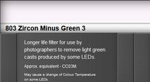 Lee Filters 803S Zircon Minus Green 3 LED Lighting Gel Sheet