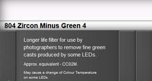 Lee Filters 804S Zircon Minus Green 4 LED Lighting Gel Sheet