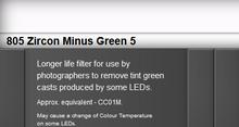 Lee Filters 805S Zircon Minus Green 5 LED Lighting Gel Sheet