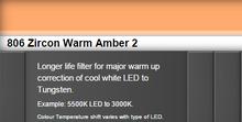 Lee Filters 806S Zircon Warm Amber 2 LED Lighting Gel Sheet