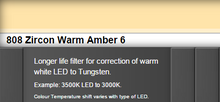 Lee Filters 808S Zircon Warm Amber 6 LED Lighting Gel Sheet
