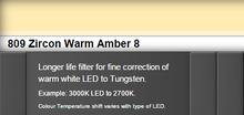 Lee Filters 809S Zircon Warm Amber 8 LED Lighting Gel Sheet