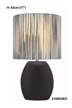 Black/Striped Table Lamp