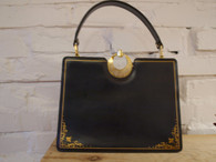 Vintage Gold Etched Satchel Handbag