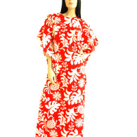 Vintage 1960s 70s Hawaiian Caftan Maxi Dress