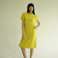 Vintage 1960s L'Aiglon Yellow Linen Sheath Dress