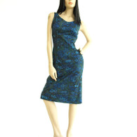 Vintage 1950s 60s Navy Floral Wiggle Dress