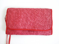 Vintage 1980s Crimson Red Straw Envelope Purse