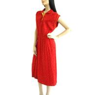 Vintage 1970s Red Knit Floral Shirt Dress