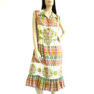Vintage 1960s Malaysian Silk Print Dress