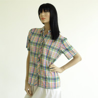 Vintage 1970s 80s Preppy Plaid Ruffle Shirt