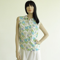 SOLD Vintage 1960s 70s White Sleeveless Floral Print Shirt