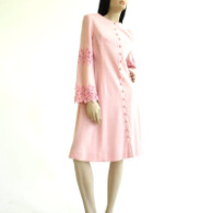 Vintage 1960s Pink Wool A Line Dress NWT