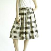 Vintage 1950's Brown/Cream Waffle Weave Plaid Skirt