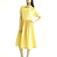 Vintage 1940s 50s Maize Yellow Pleat Day Dress