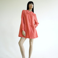 Vintage 1960s Coral Babydoll Tent Swing Coat