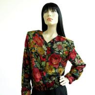 DESIGNER Vintage Valentino Blouse 1980s Silk Floral