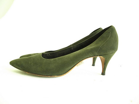 Vintage Olive Green Troylings Suede Pump