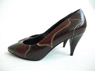 Vintage 1970s Nina Burgandy Leather/Snakeskin Pump