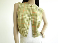 Vintage 1950s Green Plaid Cropped Vest