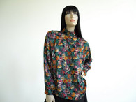 Vintage Tess Dark Cabbage Floral Blouse Shirt